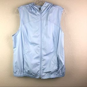 Used, Liz Golf Baby Blue Nylon Vest with Hood Sz L for sale